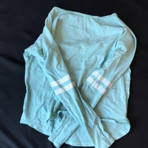 Old Navy white and teal long sleeve shirt size 8